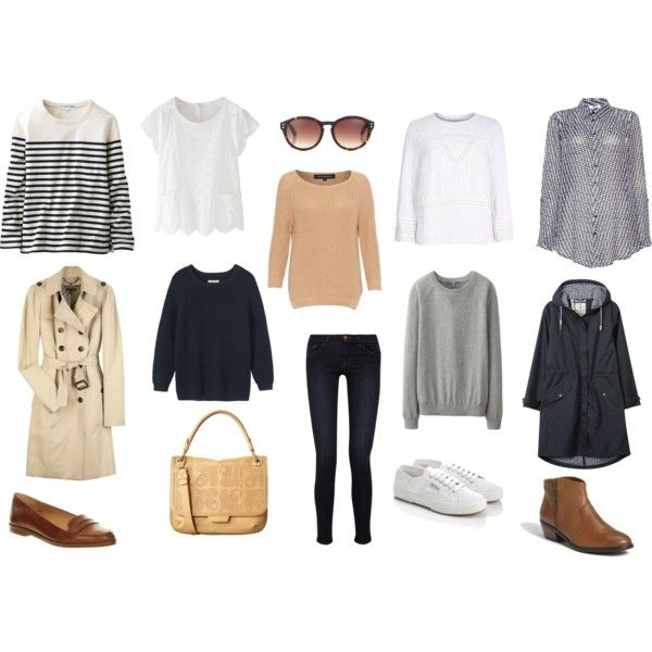 Casual Capsule Wardrobe for Spring by victoriastyle on Polyvore featuring Linea Weekend, Uniqlo, River Island, Toast, French Connection, Burberry, J Brand, ALDO, Office and Orla Kiely