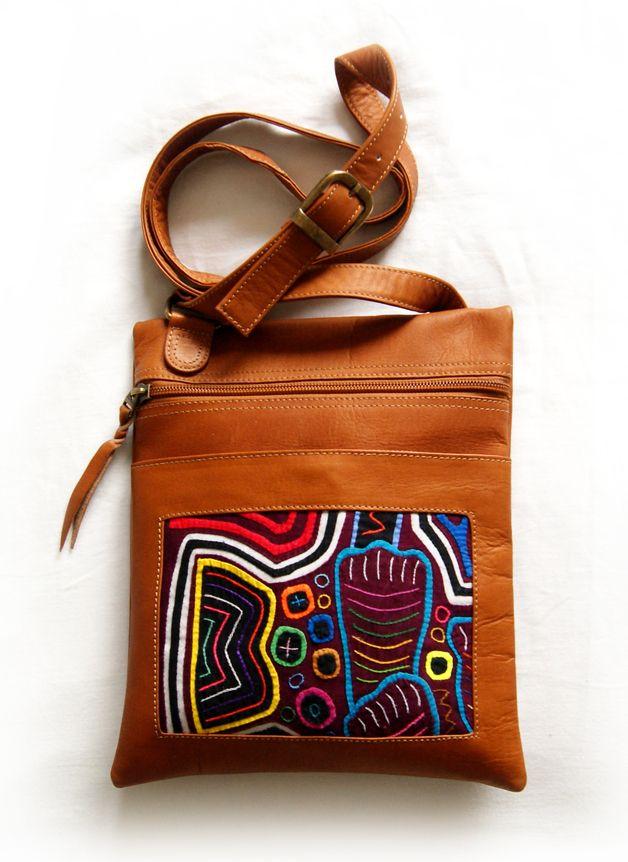 Ledertaschen - Umhängetasche aus Leder mit Mola-Dekor - ein Designerstück von MOLA-BAGS bei DaWanda