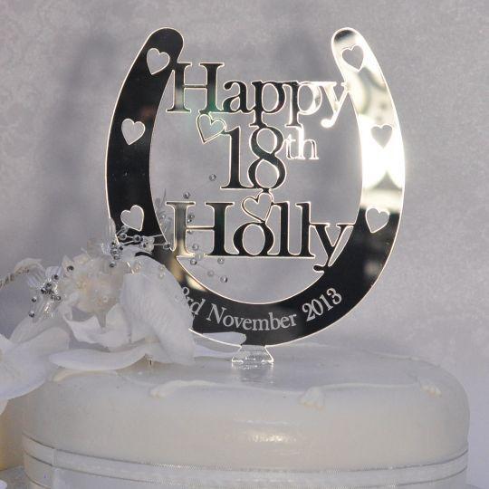 Birthday Horseshoe Cake Topper Personalised Any Name Age Cake