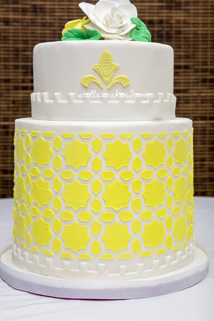 Stars and Sunshine-Wedding Cake with decorative theme in yellow and hand made roses