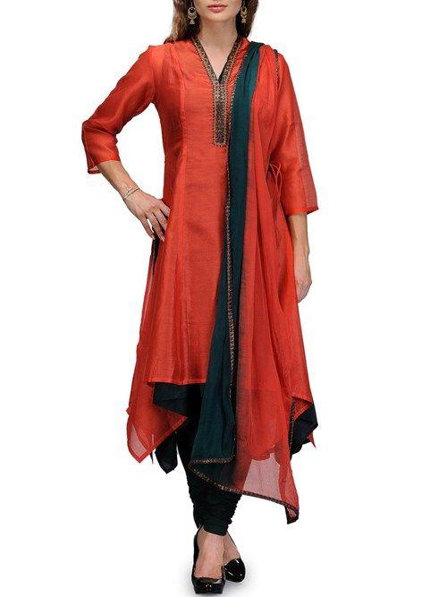 Shop Rust Cotton Silk Asymmetric Suit Set online at Biba.in - SKD4183RUS