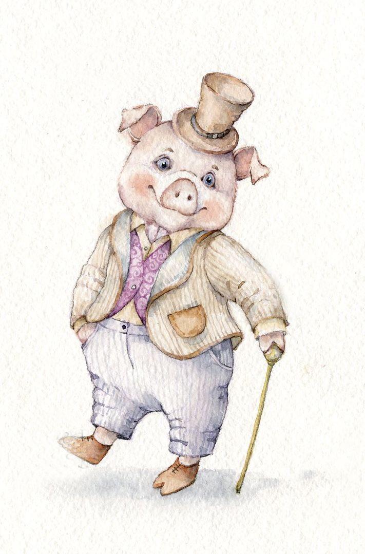 Новогодние картинки свинки для декупажа, детьми