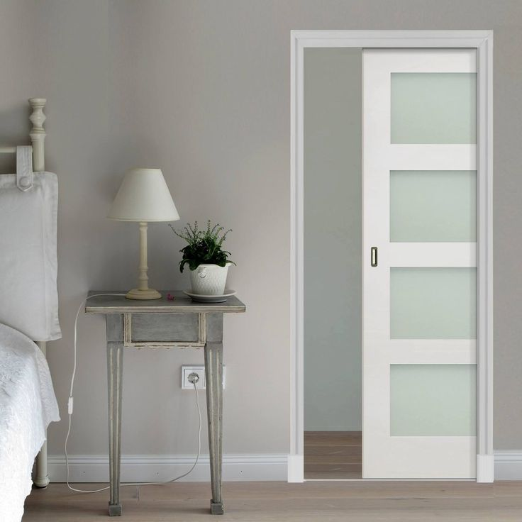 Coventry Shaker Single Evokit Pocket Door Frosted Glass White Primed Glass Pocket Doors