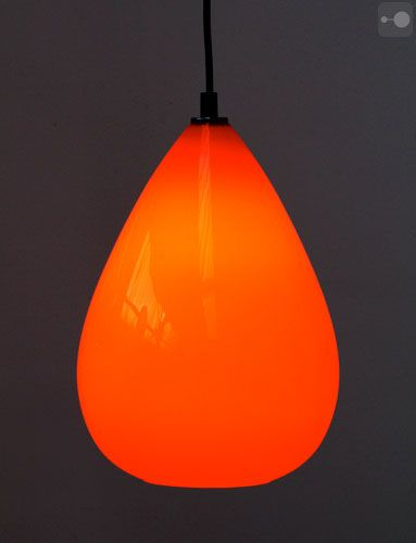 Retro Vintage Orange Glass Lamp Shade, Teardrop, Globe, 1960s - @ Theory of Supply, FOR SALE UK