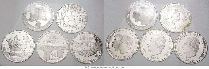 RITTER Spanien, 5x 10 Euro 2002-2006, Fußball, Euro, Hochzeit, Frieden, EU, PP #coins