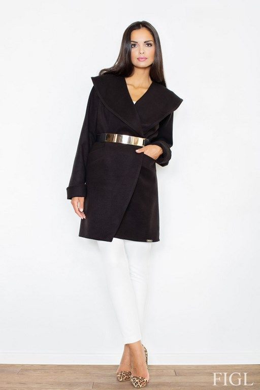 Women's black coat with a collar