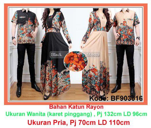 Baju Gamis Modern Terbaru - Detail produk model Baju Gamis batik couple 106: Bahan : Katun Rayon Kode : BF903106 Ukuran : Wanita (gamis busui) fit to L , Panjang 132cm, Lingkar dada 9