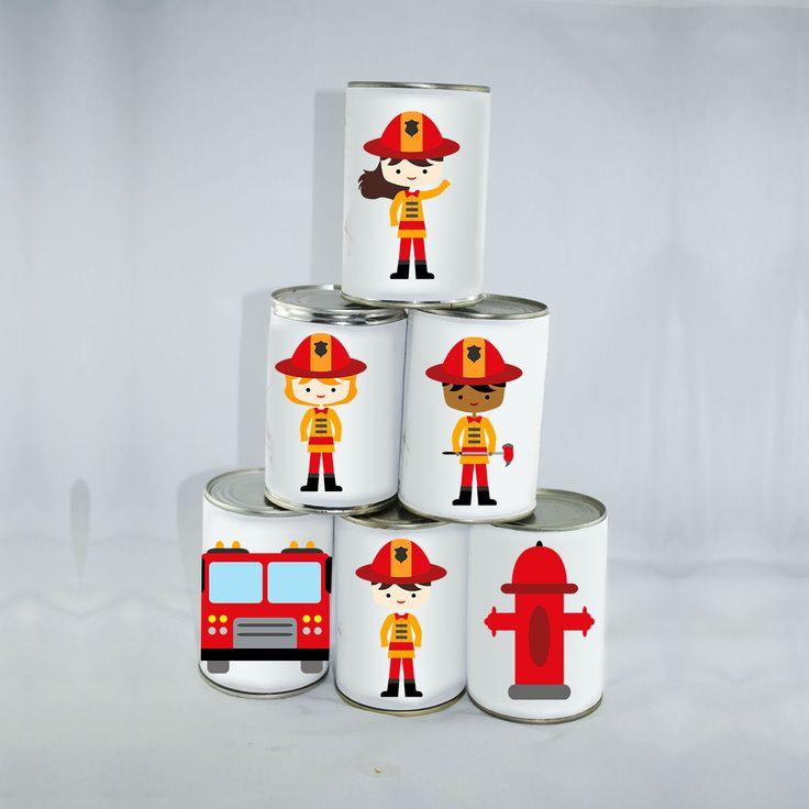 6 Grandes Étiquettes Pompiers Chamboule-tout : Jeux, jouets par creerpourvous