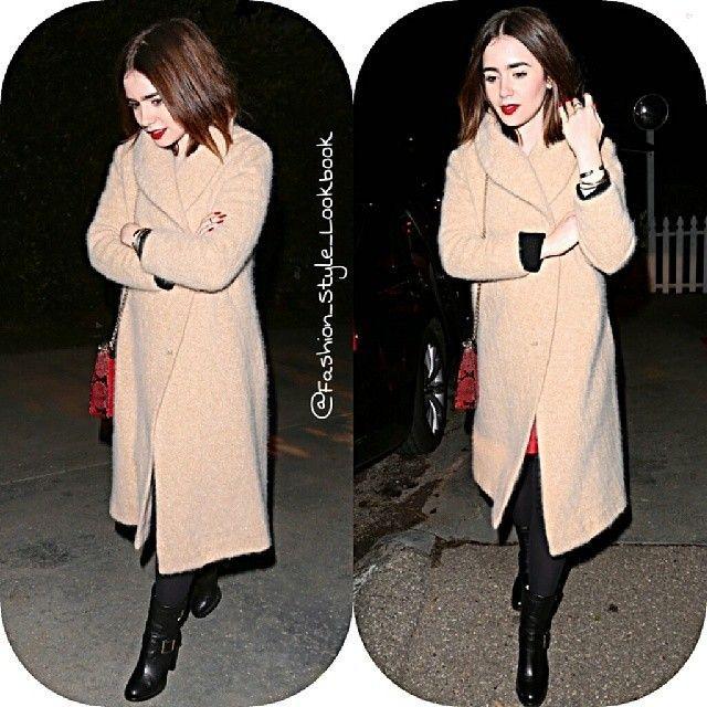 #lilycollins #british #coat #uk #wool #eyebrows #moda #cute #styleicon #fashionicon #ny #socialite #style #fashion #instastyle #instafashion #beautiful #givenchy #gold #glitter #chanel #silver #tweed #handbag #accessories #caradelevingne #omg #wool... - Celebrity Fashion