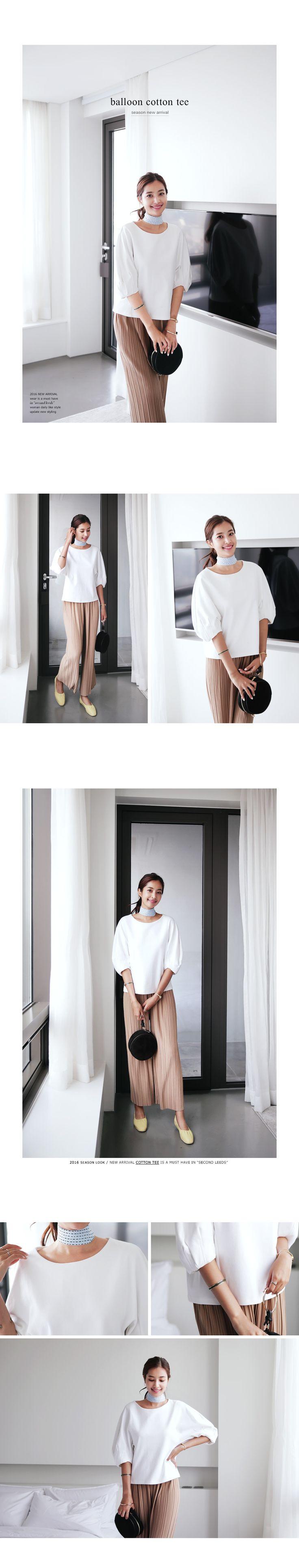 バルーンスリーブコットンTシャツ・全3色トップス・カットソーカットソー・Tシャツ|レディースファッション通販 DHOLICディーホリック [ファストファッション…