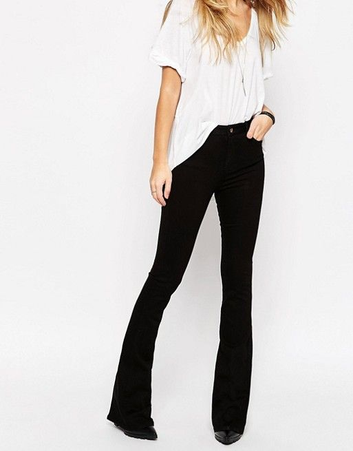 ASOS | ASOS Bell Flare Jeans In Clean Black With Pressed Crease