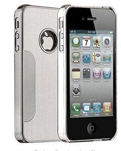Coque iPhone 4S, ULAK iPhone 4 Coque Rigide hybride avec dos en métal brossé PC pour iPhone 4S/4(Argent)