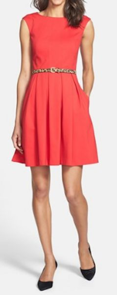 Cute fit and flare dress with leopard belt detail http://rstyle.me/n/mqbsznyg6