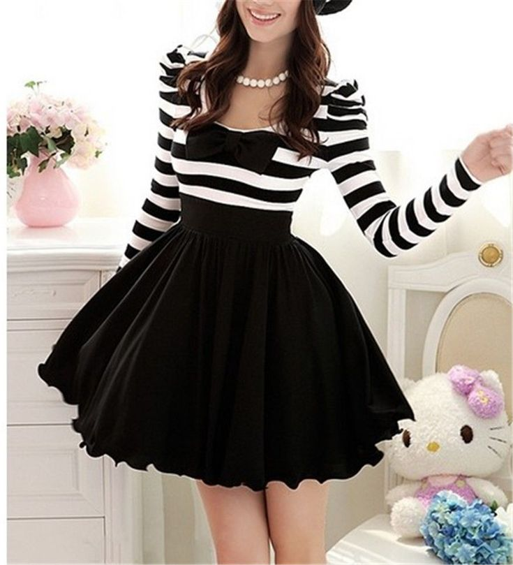 Cute Classical Gothic Punk Lolita Dolly Bow Stripes Spring Dress Skirt -S M L XL #Handmade #ShirtDress #Casual
