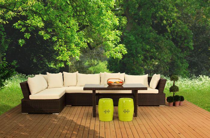 Deko-546 Bahçe Köşe Takımı Kahve Rattan Sentetik 5 parçadan oluşan modüler köşe takımıyla ister sedir ister oturma grubu formunda kullanabileceğiniz balkon ve bahçenizde fonksiyonelliğiyle keyfinize keyif katacak bahçe köşe takımı