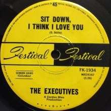 SIT DOWN, I THINK I LOVE YOU / DON'T YOU SOMETIMES, BABY, FIND THAT I'M ON YOUR MIND | EXECUTIVES | 7 inch single | $25.00 AUD | music4collectors.com