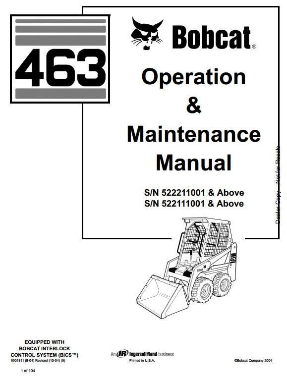 bobcat skid steer loader type 463  s70   s  n 522111001