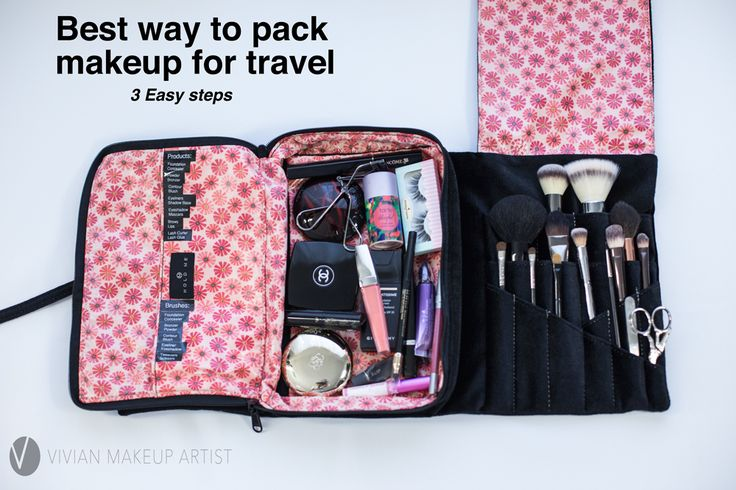 How to pack makeup for travel. Carryon makeup. Makeup organization tips. http://www.vivianmakeupartist.com/how-to-organize-your-makeup-for-travel/
