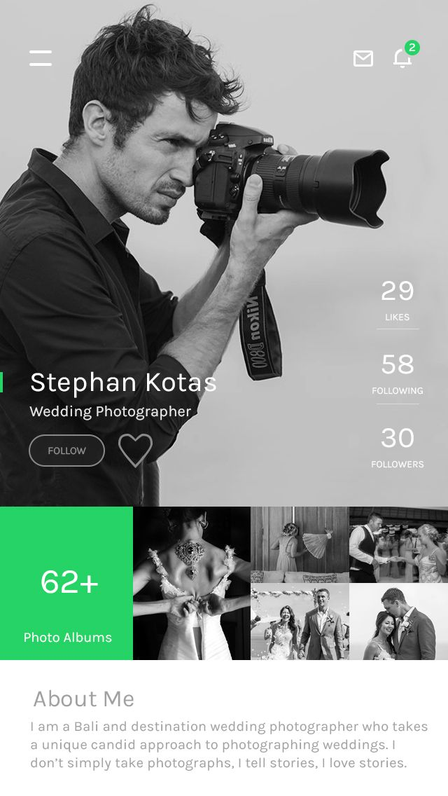 Photographer profile screen