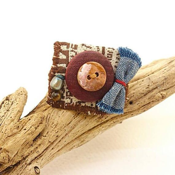 Fabric ring with buttons Statement Ring Adjustable Ring