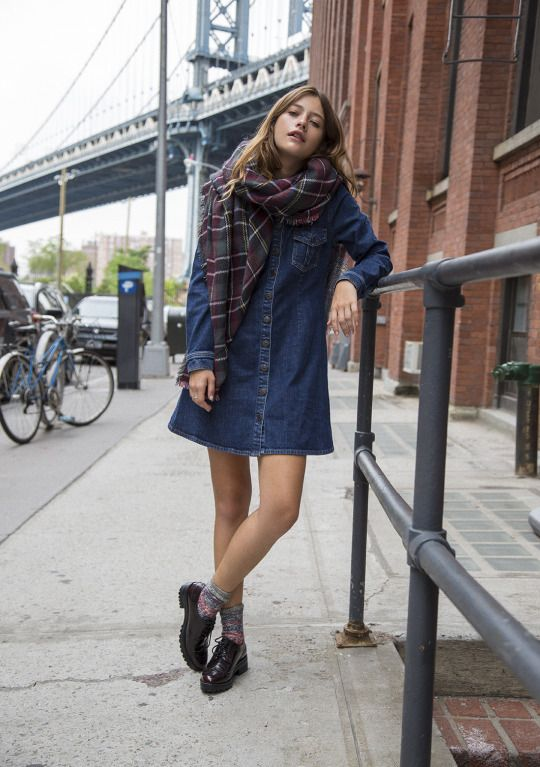 Love the oxford shoes pairs with the denim dress and oversize scarf