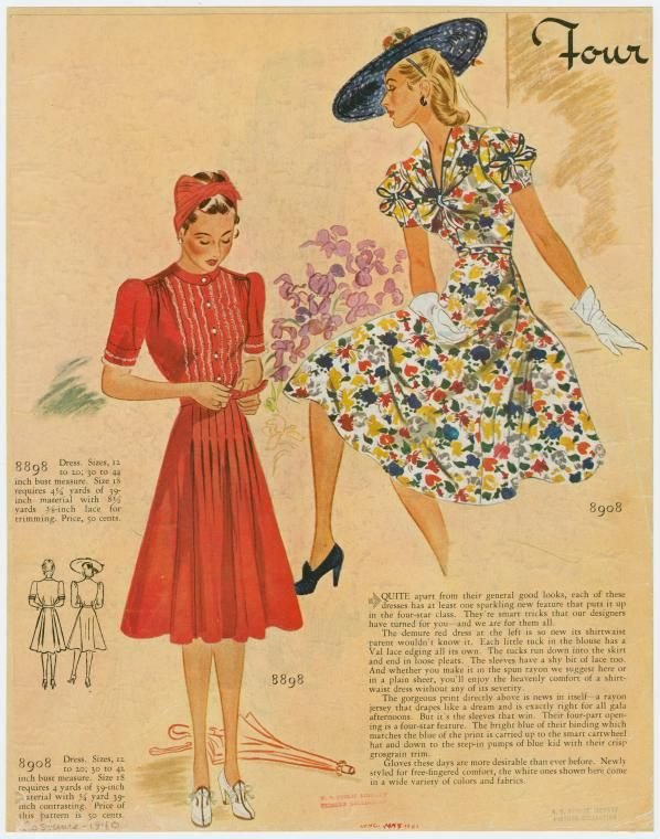 Red shirtwaist dress and floral print 1940 NYPL