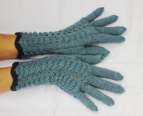 Hand Knitted Gloves,  blue-gray  Elegant Arm Warmers Gloves With Fingers, For Her, Gift Ideas, Winter Accessories,  Christmas gift,