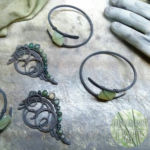 These pieces are saying 'polish me'. The grubby part of copper wirework designs.