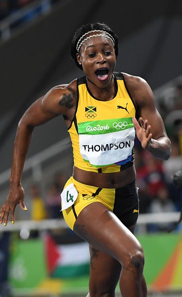 Jamaica's Elaine Thompson reacts after she won the Women's 100m Final during the…