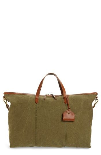 MADEWELL THE TRANSPORT CANVAS WEEKEND BAG - GREEN. #madewell #bags #leather #travel bags #weekend #canvas #cotton #