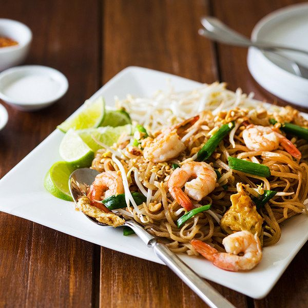 This version of pad thai, developed by cookbook author and teacher Nancie McDermott, is for those who may not have a wok at home. Although in Thailand pad thai is a street-vendor specialty, stir-fried in single portions right in front of you, McDermott knows that vendor-style won't fly with American home cooks. In this recipe, she's devised a way to produce a superb pad thai in a 12-inch heavy skillet, but be aware that the skillet can hold only enough ingredients for two people (of course…