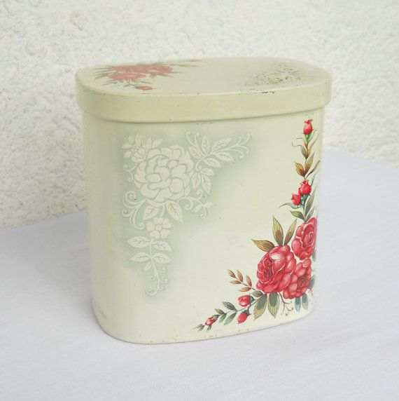 tin container, vintage tin, red roses, biscuit tin, cookie tin, metal tin, tin canister, German tin on Etsy, $21.28