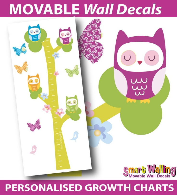 smartwalling, MOVABLE wall decals - Personalised Owls Growth Height Chart - Totally Movable, $39.95 (http://www.wholesaleprinters.com.au/personalised-owls-growth-height-chart-totally-movable)