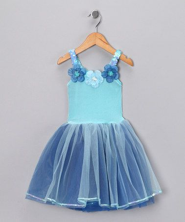 Love this Blue & Turquoise Flower Dress - Toddler & Girls by Princess Expressions on #zulily! #zulilyfinds