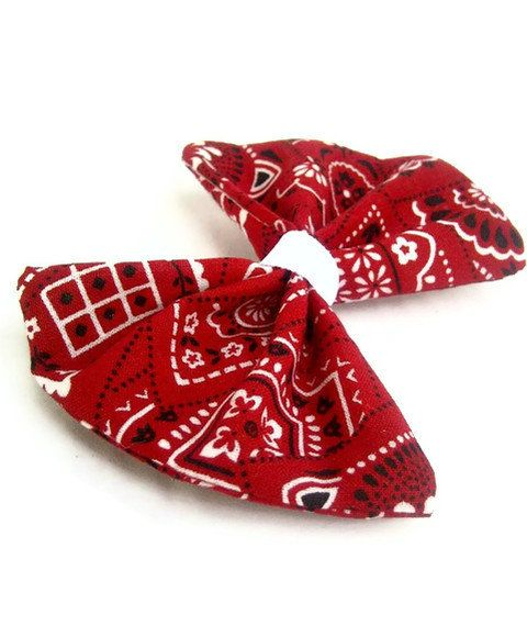 Rockabilly Red Bandana Hair Bow Clip by KandyShoppe on Etsy, $5.00  --if I have a little girl, she WILL have one of these!! Adorable.