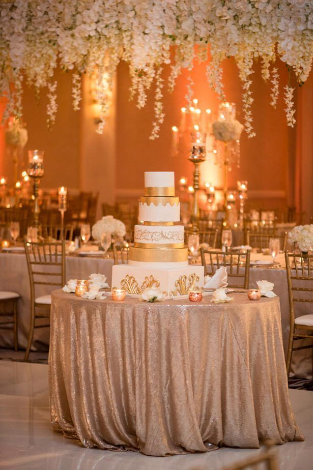 White And Gold Opulent Wedding With Syrian Traditions Luxury Wedding Cake Table Wedding Cake Table Decorations Wedding Cake Table
