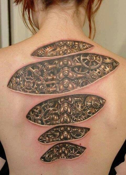 Steampunk under skin cogs and gears spine tattoo for Under the skin tattoo