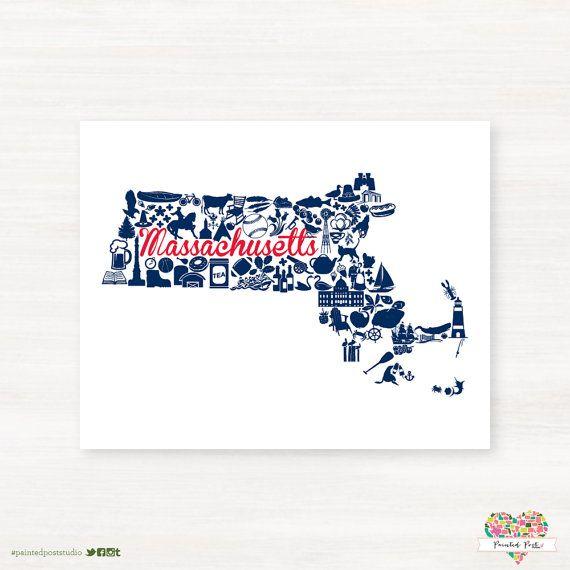 New England Patriots -New England Foxborough Massachusetts Landmark State by PaintedPost