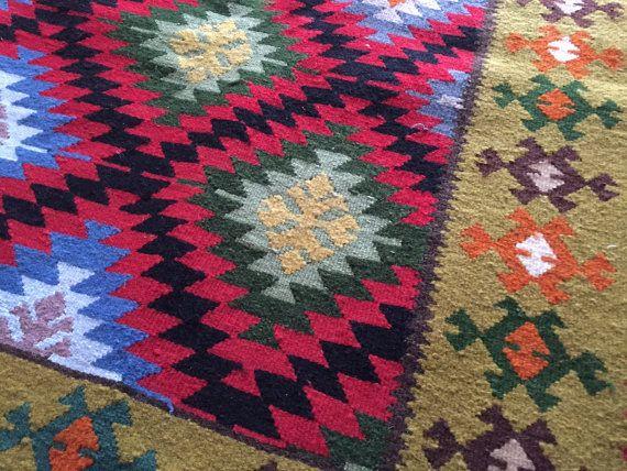 "Vintage Balkans Kilim Rug ""KOTLENSKI"", Geometric pattern, Colorful rug, Diamond Pattern, Handmade rug, Bohemian rug, Boho rug, Carpet wool"