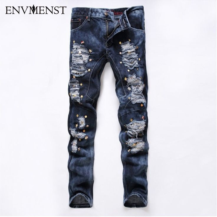 33.11$  Buy now - Hot Sale Mens Jeans 2017 New Ripped Elatic Jeans Fashion Designer Biker Jeans Casual Men Clothes Skinny Jeans Slim Fit  #buyonlinewebsite