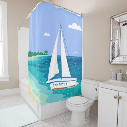 #Monogram Sailboat Tropical Beach Shower Curtain - #Bathroom #Accessories #home #living