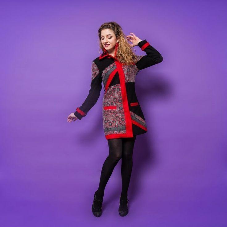 Manteau bamboo's chic Noir/rouge