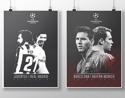 champions league semi-finales 2015  #football #Poster #graphic #design #artwork #soccer #sport #FCbarcelona #RealMadrid #Barcelona #Madrid #Juventus #BayernMunich #Munich