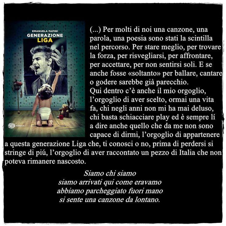 Per molti di noi una canzone, una parola, una poesia sono stati la scintilla nel percorso. #GenerazioneLiga @Luciano Ligabue @Einaudi editore