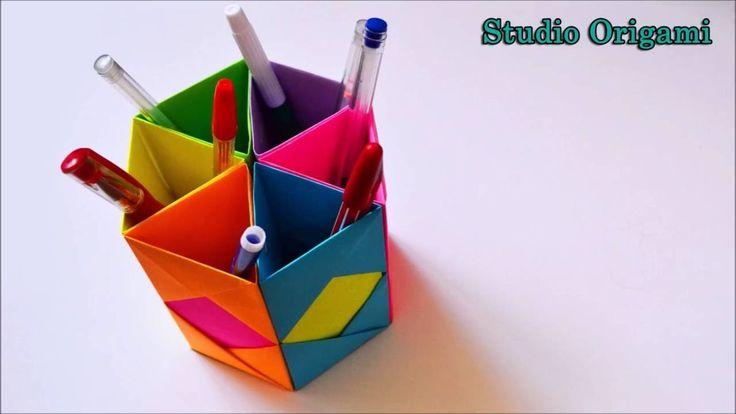 Органайзер для ручек из бумаги. Оригами Organizer for pens from the paper. Origami