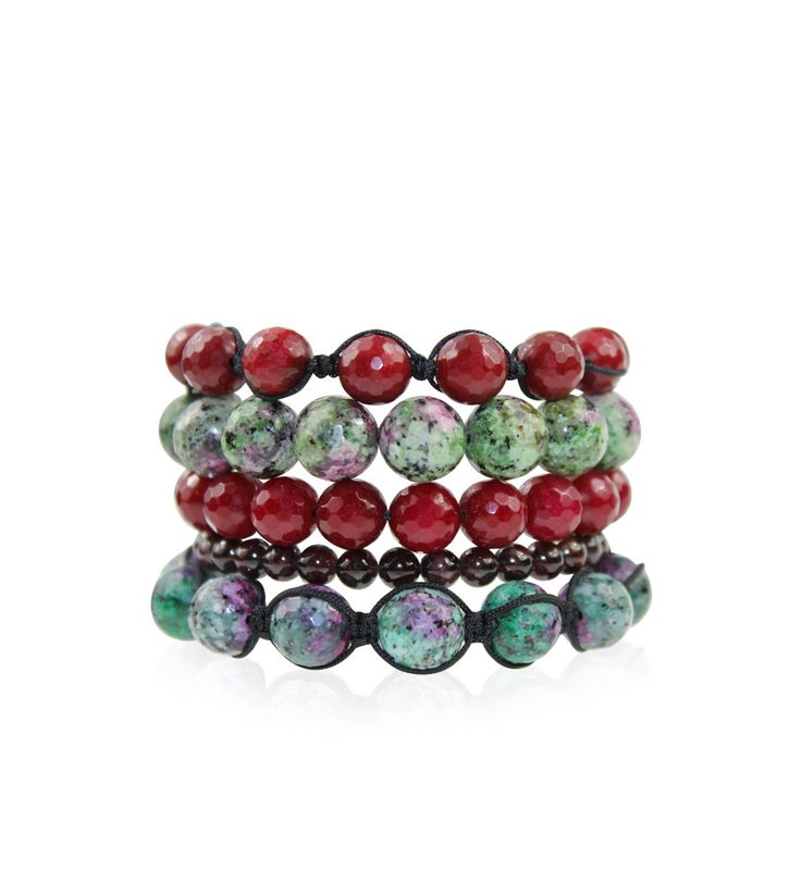 Anyolite, Quartzite and Garnet Stackable Set