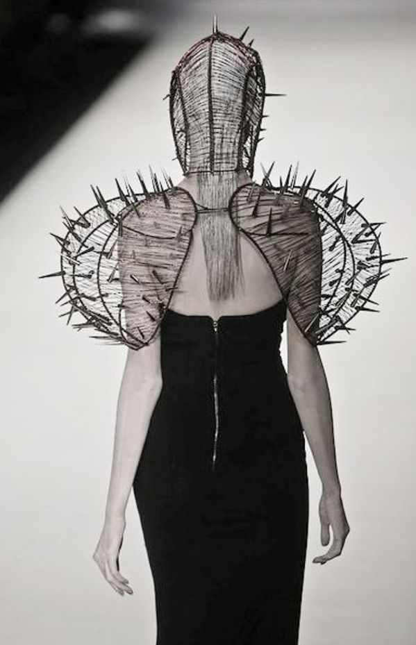 Sculptural Fashion - spike shoulder cage & mask; fashion as art by Hu Sheguang