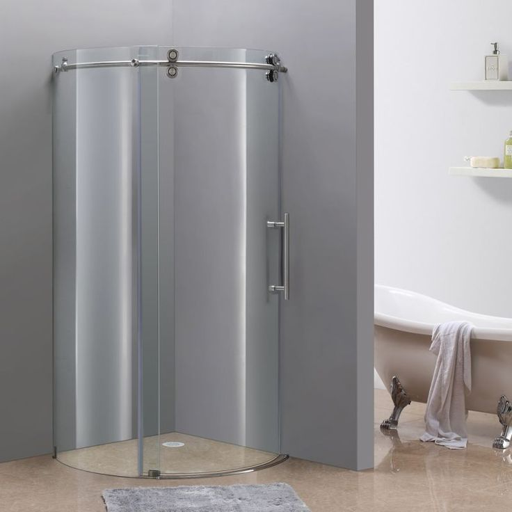 """Aston SEN980-36-8-R 36"""" x 32"""" Frameless Shower Enclosure with 5/16"""" Glass and Ri Stainless Steel Showers Shower Enclosures Sliding"""