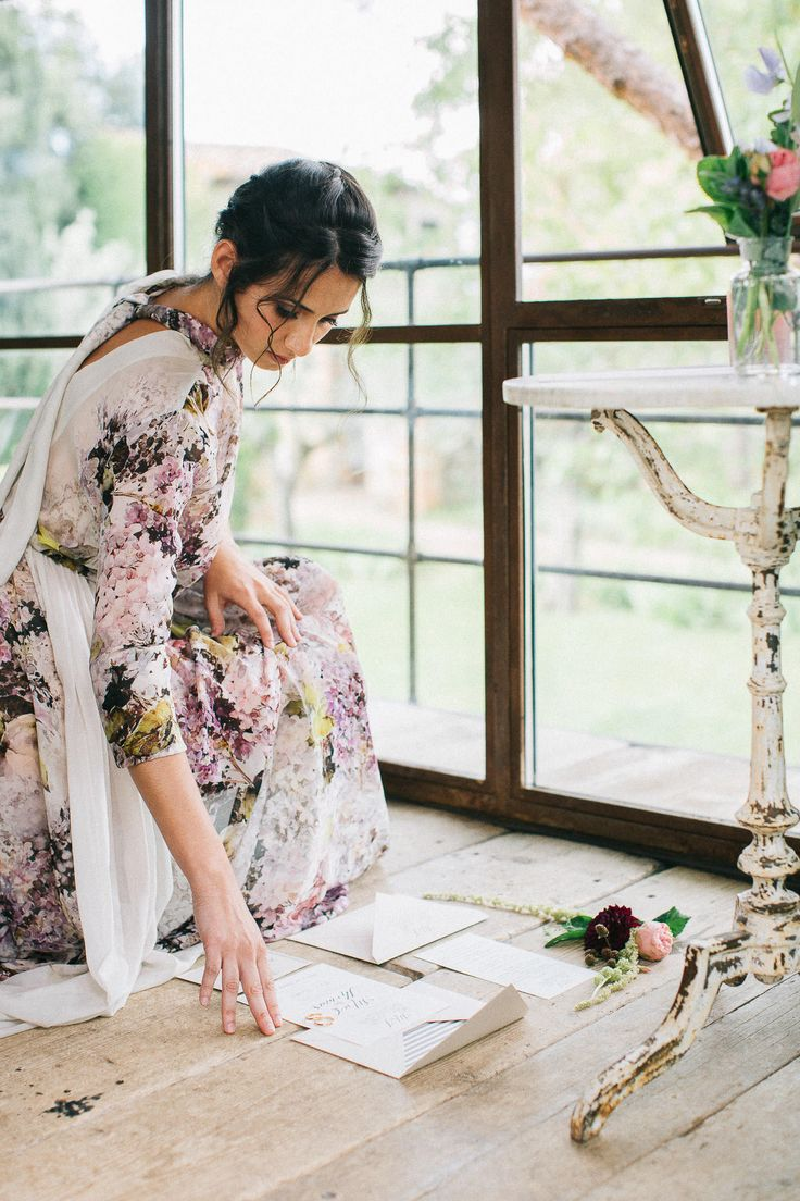 Floral Print Wedding Dress by Anna Fuca - Floral Print Wedding Dress by Anna Fuca   Tuscan Treehouse Bridal Inspiration Shoot   Images by Stefano Santucci