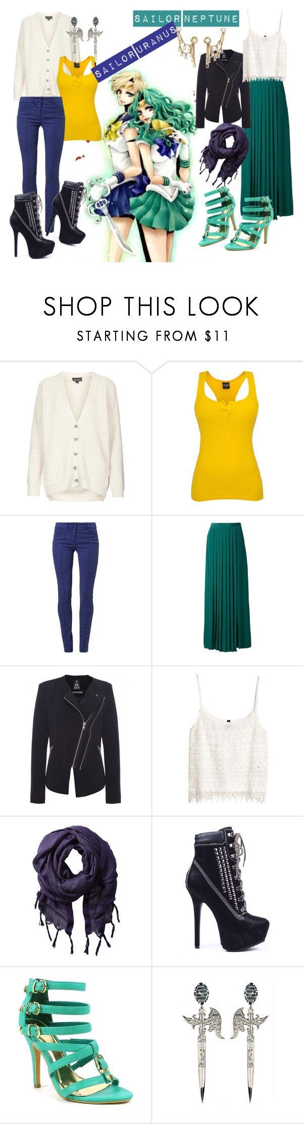 """""""Sailor Uranus and Sailor Neptune"""" by rachel-hubby ❤ liked on Polyvore featuring Topshop, Sportalm, TIBI, 2nd Day, H&M, Love Quotes Scarves, Timberland, Fahrenheit and Eina Ahluwalia"""
